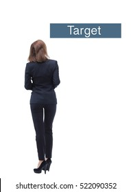 Young businesswoman back view
