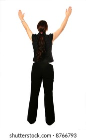 Young businesswoman with both arms raise up in gesture of victory, celebration or worship, isolated on white.