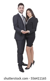 Young businesswoman and businessman holding something in their hands