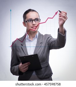 Young businesswoman with chart diagrams