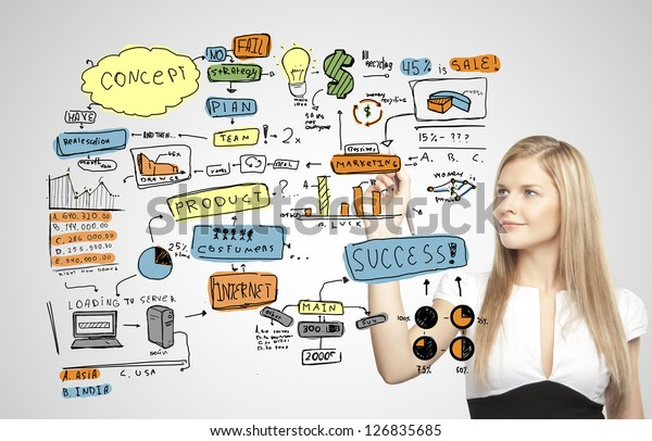 young businesswoman drawing business plan