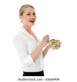 Young businesswoman eating salad isolated on white