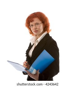 the young businesswoman with folder on white background