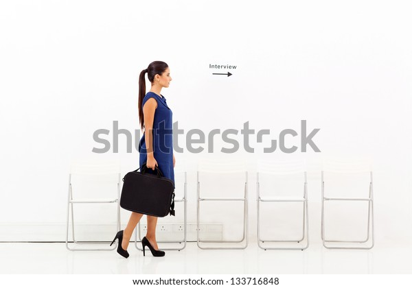 young businesswoman going for job interview