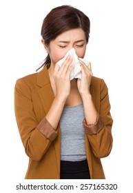 Young businesswoman got sick