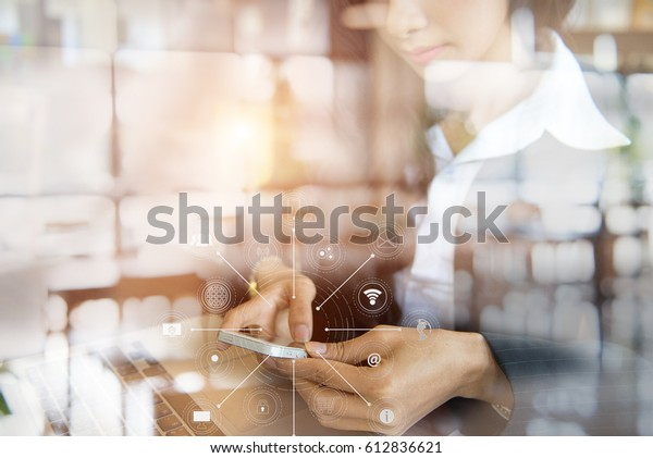 Young businesswoman hand with mobile network communication technology,