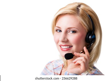 young businesswoman with a headset on isolated background