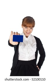young businesswoman hold business card
