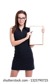 Young businesswoman holding clipboard, isolated on white