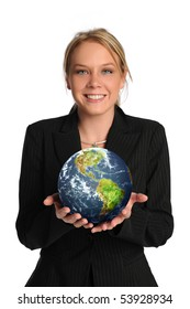 Young businesswoman holding the earth isolated on a white background