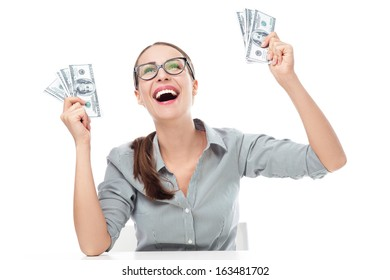 Young businesswoman holding money