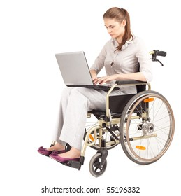 young businesswoman with laptop on the wheelchair