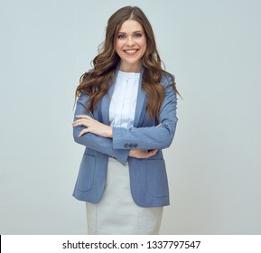 young businesswoman in office suit classic studio isolated portrait.