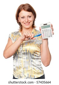 Young businesswoman with pen and calculator