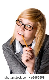young businesswoman with pencil on white background