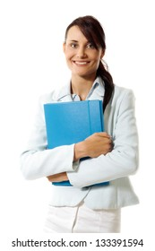 Young businesswoman with planner on a white background