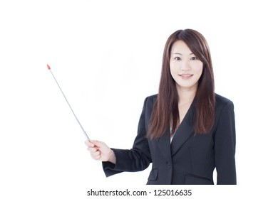 Young businesswoman with pointer, isolated on white background