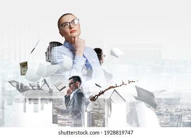 Portrait d'une jeune femme d'affaires, expression de son visage