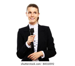 Young businesswoman public speaking isolated on white background