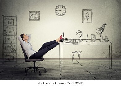 young businesswoman relaxing sitting in the office