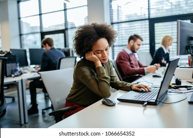 Young businesswoman resting during office hours