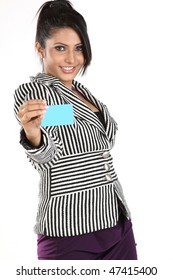 Young businesswoman showing the credit card