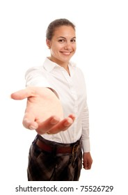a young businesswoman showing her hand offering help