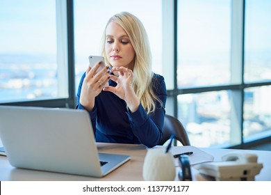 Young businesswoman sitting at her desk in a modern office checking messages on a cellphone and working on a laptop