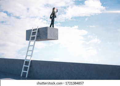 Young businesswoman standing on cube with ladder and look into the distance. Motivation and career success concept