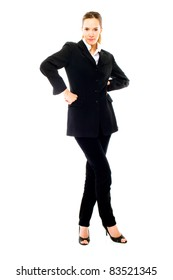 young businesswoman standing on white background studio