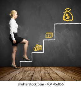 young businesswoman taking the first step in getting higher salary with increasing difficulty