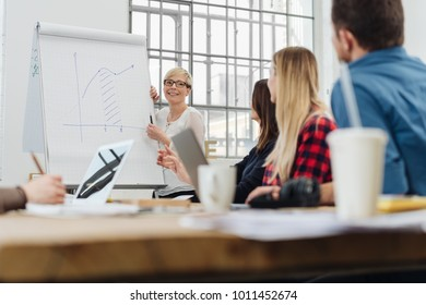 Young businesswoman or team leader giving a presentation to a group of colleagues in a low angle view across the table
