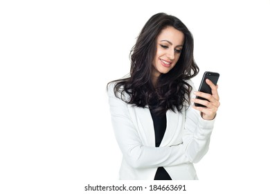 Young businesswoman using phone isolated on white background