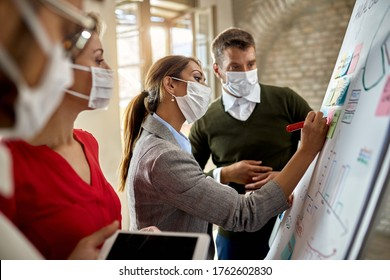 Young businesswoman wearing protective face mask while writing mind map on whiteboard and making new business plans with her team during COVID-19 pandemic.