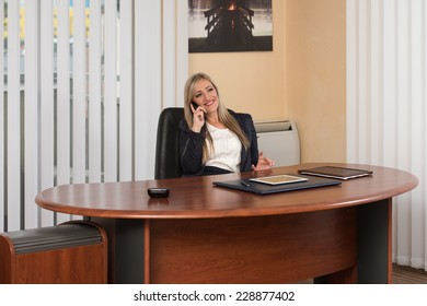 Young Businesswoman Working At Her Computer While Talking On The Phone