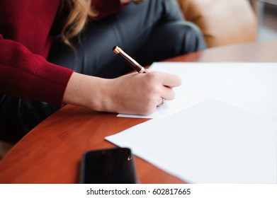 young businesswoman working with papers