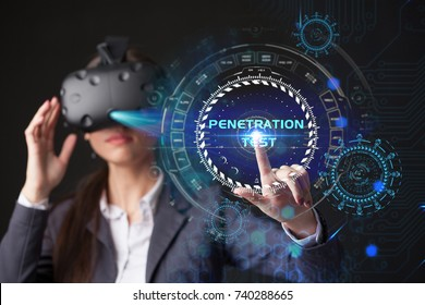 Young businesswoman working in virtual glasses, select the icon PENETRATION TEST on the virtual display