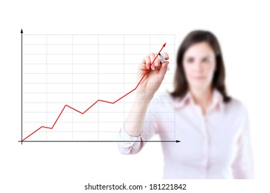 Young businesswoman writing on glass board or working with virtual screen 2, white background.