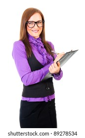 Young businesswoman writing on tablet isolated over white background