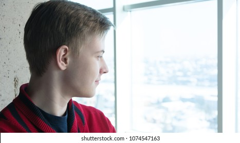Young calm man looking at the landscape of the city from the skyscraper. Side profile view. Photo for your text space for business / finance / IT advertising and posters