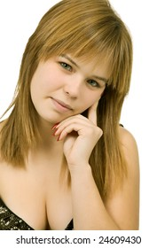 young casual blond woman close up portrait