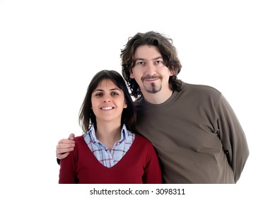young casual couple isolated on white background