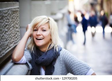 Young casual looking girl staring at camera.