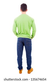 Young casual man from back, isolated on white