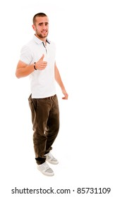 young casual man full body thumbs up in a white background