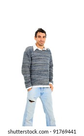 Young casual man isolated on white