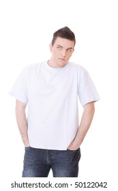 young casual man isolated over white background