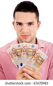 young casual man with lots of money