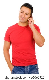 young casual man on the phone, isolated on white background