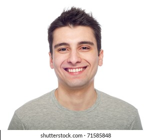 young casual man portrait isolated on white background